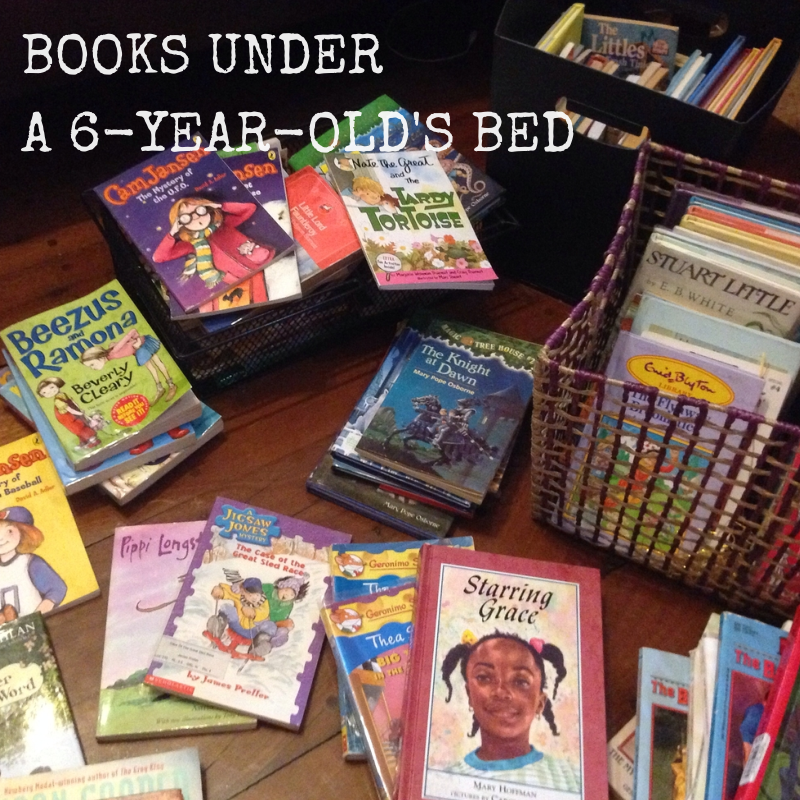 BOOKS UNDER A 6-YEAR-OLD'S BED
